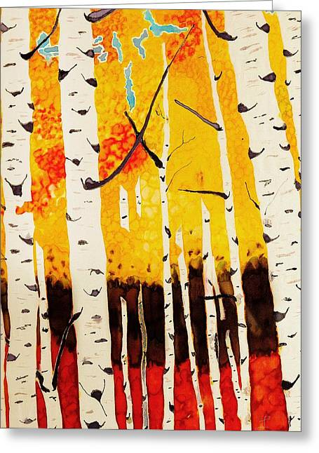States Tapestries - Textiles Greeting Cards - Fall Aspens Greeting Card by Linda Duncan