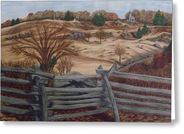 Civil Pastels Greeting Cards - Fall at Little Round Top Gettysburg Greeting Card by Joann Renner