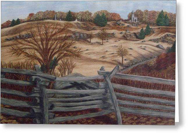 Military Pastels Greeting Cards - Fall at Little Round Top Gettysburg Greeting Card by Joann Renner