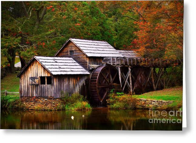 Recently Sold -  - Oak Creek Greeting Cards - Fall at Mabry Mill Greeting Card by T Lowry Wilson