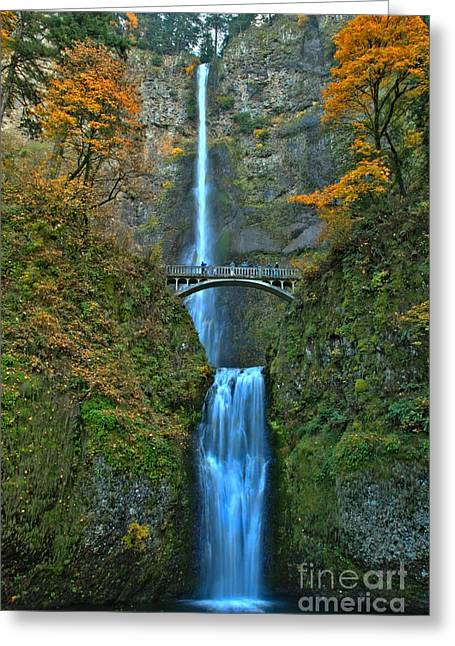 A River In Autumn Greeting Cards - Fall At Multnomah Greeting Card by Adam Jewell