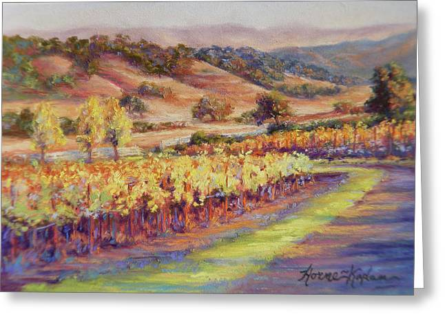 Grapevines Pastels Greeting Cards - Fall at Rusacks Front Gate Greeting Card by Denise Horne-Kaplan