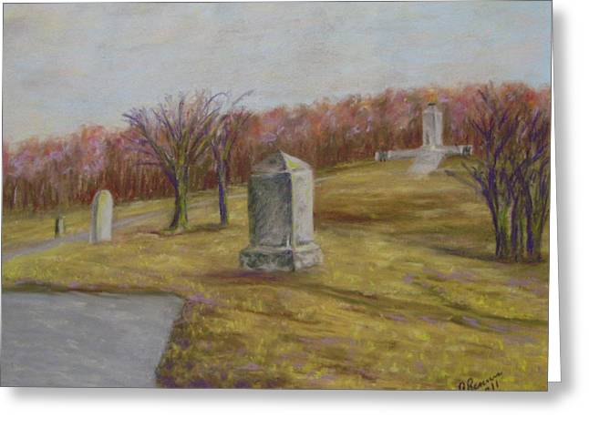 Civil Pastels Greeting Cards - Fall At The Peace Light Memorial Gettysburg Greeting Card by Joann Renner