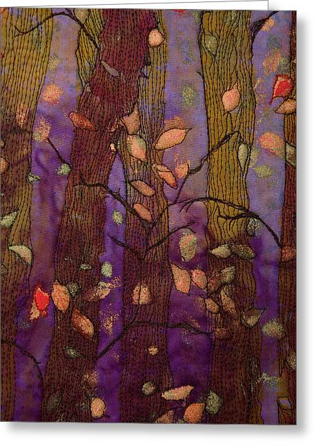 Fall Tapestries - Textiles Greeting Cards - Fall Away Greeting Card by Jacque Davis