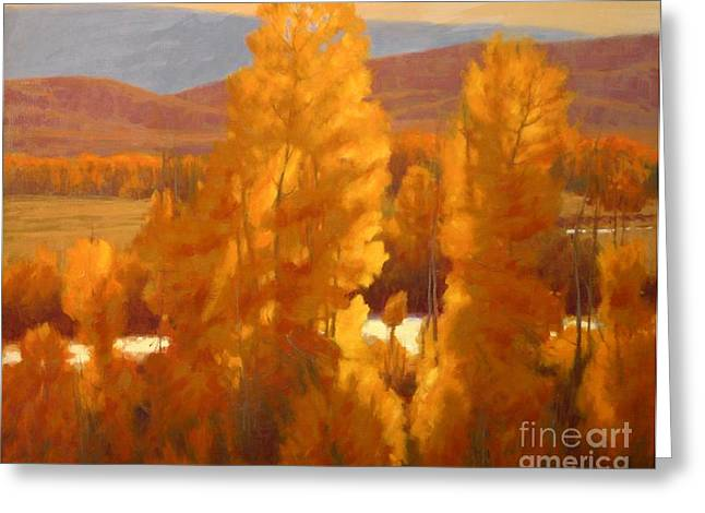Rural Scene Pastels Greeting Cards - Fall Backlight Greeting Card by Doyle Shaw