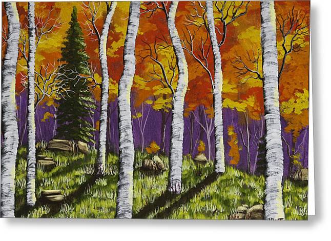 Deciduous Greeting Cards - Fall Birch Trees Painting Greeting Card by Keith Webber Jr
