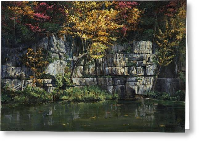 National Paintings Greeting Cards - Fall Bluffs - Ozark Natl Scenic Rivers Greeting Card by Don  Langeneckert