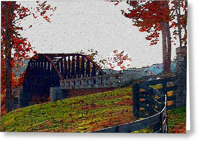 Award Winning Art Greeting Cards - Fall Bridge Greeting Card by Dennis Buckman