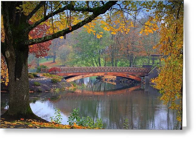 Recently Sold -  - Reflection In Water Greeting Cards - Fall Bridge Greeting Card by Lindi Lambert