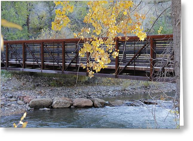 Peaceful Scenery Pyrography Greeting Cards - Fall bridge over river Greeting Card by Robert Mondragon