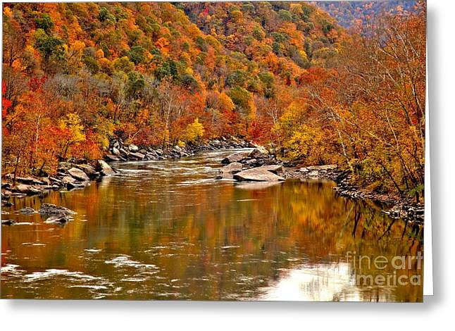 Fayetteville Greeting Cards - Fall Brilliance At New River Greeting Card by Adam Jewell