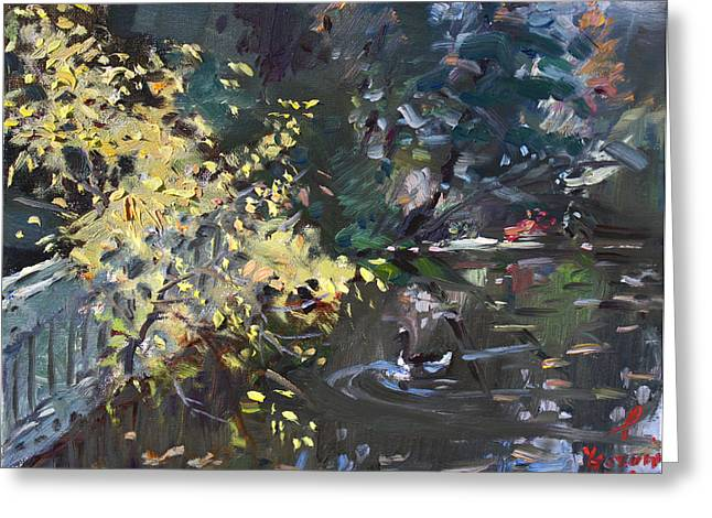 Lake Paintings Greeting Cards - Fall by the Pond Greeting Card by Ylli Haruni