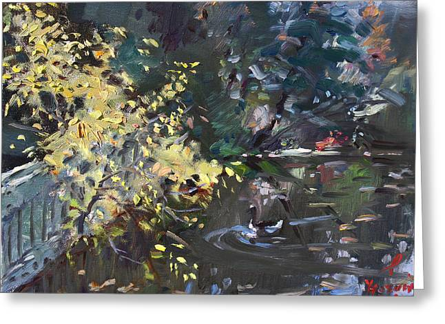 Fall Trees Greeting Cards - Fall by the Pond Greeting Card by Ylli Haruni