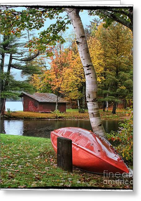 Canoe Photographs Greeting Cards - Fall Canoe Greeting Card by Bobbie Turner