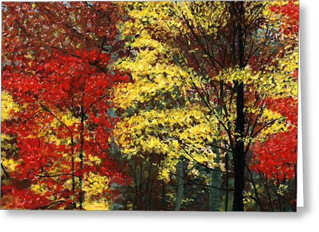 Fall Colors Pastels Greeting Cards - Fall Canopy Greeting Card by George Burr