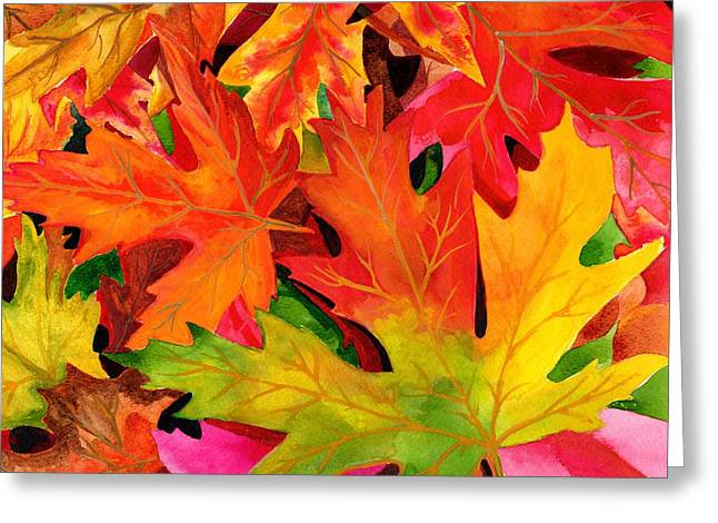 Forest Floor Drawings Greeting Cards - Fall Carpet  Greeting Card by Jane Pietrofitta