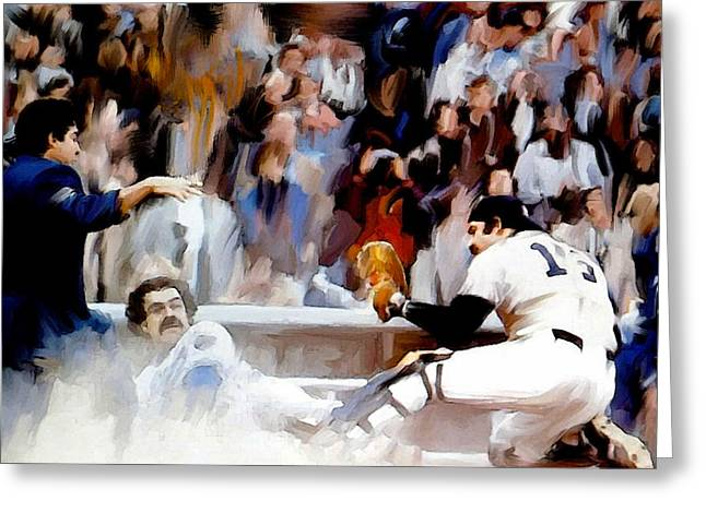 Fall Classic II  Thurman Munson Greeting Card by Iconic Images Art Gallery David Pucciarelli