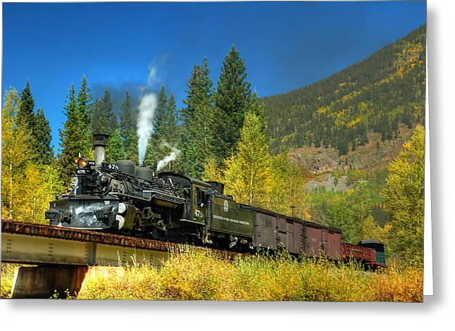 Narrow Gauge Steam Engine Greeting Cards - Fall colored Bridge Greeting Card by Ken Smith