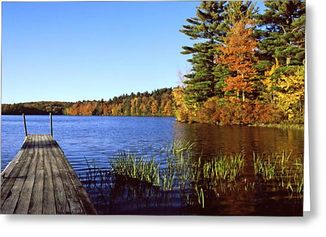 Fall Scenes Greeting Cards - Fall Colors Along A New England Lake Greeting Card by Panoramic Images