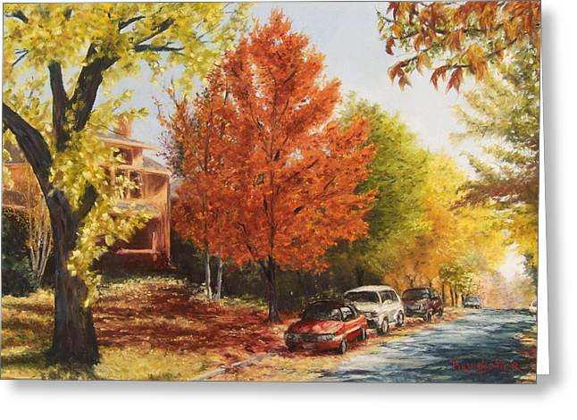 Yellow Leaves Pastels Greeting Cards - Fall Colors Greeting Card by Angela Bruskotter