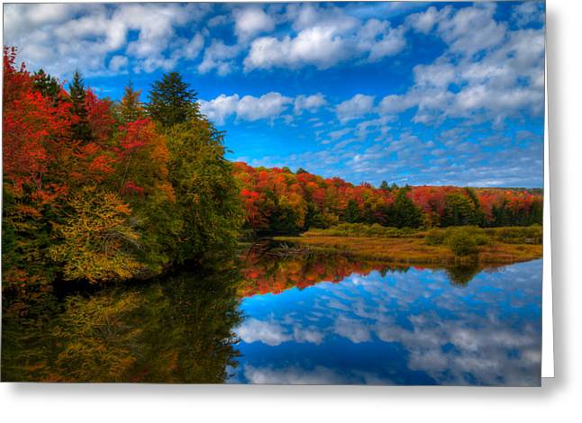 Reflections In River Greeting Cards - Fall Colors at the Green Bridge Greeting Card by David Patterson