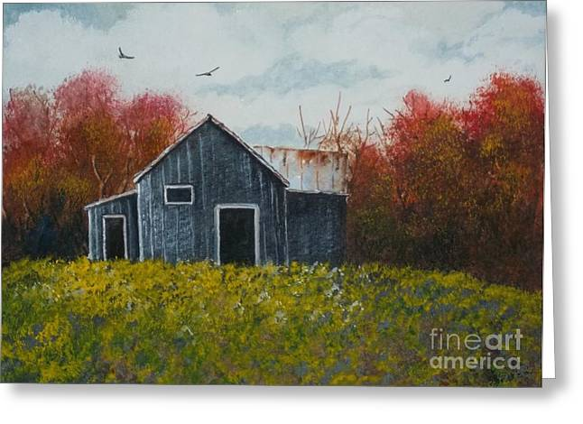 Red Roofed Barn Greeting Cards - Fall Colors Greeting Card by Don Hand