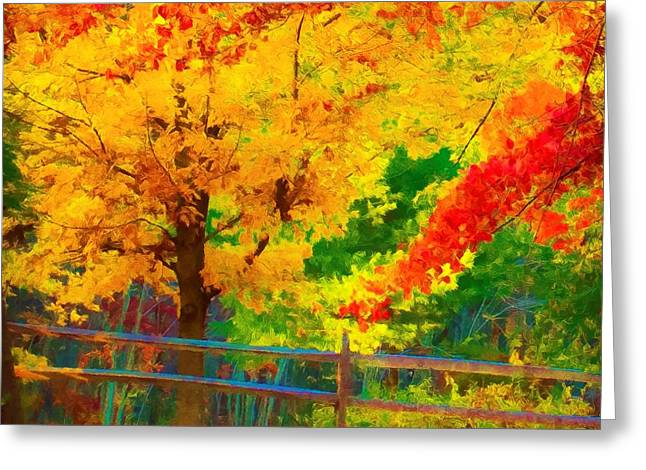 Old Fence Posts Digital Greeting Cards - Fall Colors I Greeting Card by Girard Michaelson