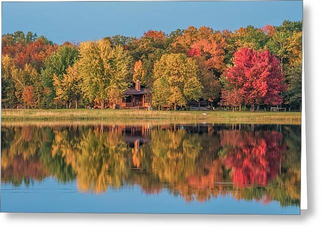 Cabin Wall Greeting Cards - Fall Colors in Cabin Country Greeting Card by Paul Freidlund