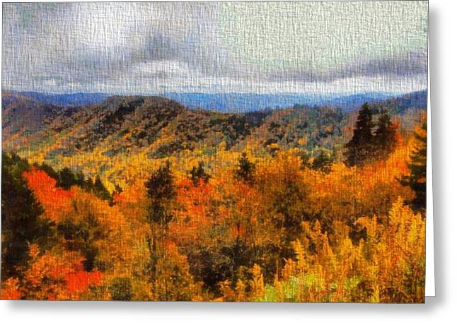 National Parks Mixed Media Greeting Cards - Fall Colors In The Smoky Mountains Greeting Card by Dan Sproul