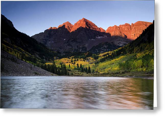Horizontal Pyrography Greeting Cards - Fall Colors Maroon Bells Greeting Card by Misty Sprouse