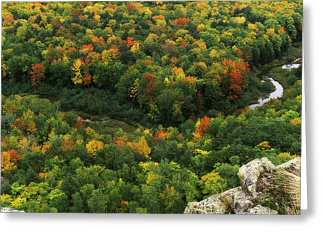 Upper Peninsula Greeting Cards - Fall Colors On Mountains Near Lake Greeting Card by Panoramic Images