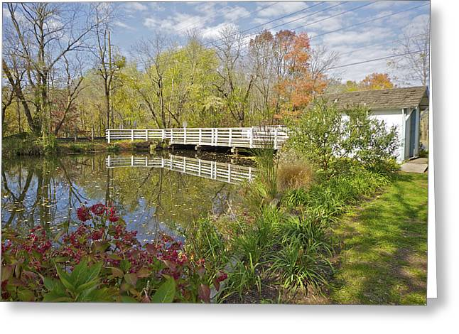 Raritan Greeting Cards - Fall Colors on the Canal Greeting Card by David Letts