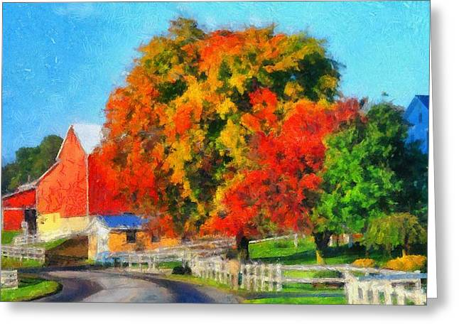 Red Leaves Mixed Media Greeting Cards - Fall Colors On The Farm Greeting Card by Dan Sproul