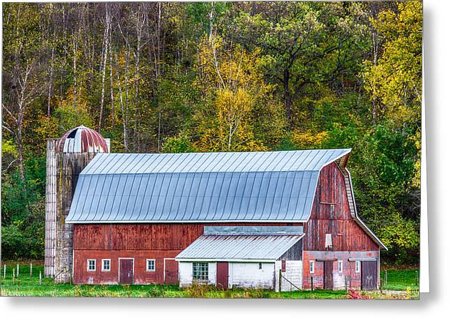 Old Barns Greeting Cards - Fall Colors On The Farm Greeting Card by Paul Freidlund