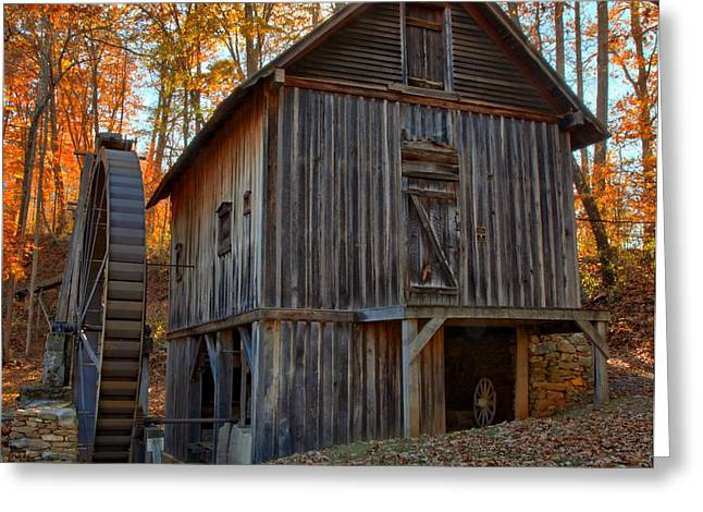 Grist Mill Greeting Cards - Fall Colors Over The Wooden Grist Mill Greeting Card by Adam Jewell