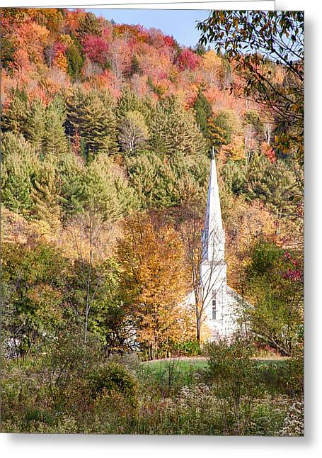 Roxbury Greeting Cards - Fall colors over Vermont church Greeting Card by Jeff Folger