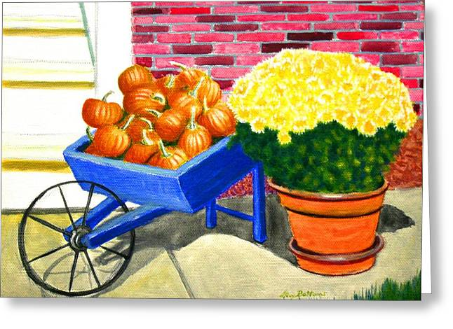 Wooden Wagons Paintings Greeting Cards - Fall Colors Greeting Card by Stacy C Bottoms