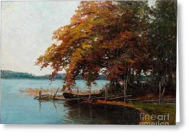 Oslo Paintings Greeting Cards - Fall Colours By The Shore Greeting Card by Ellen Favorin