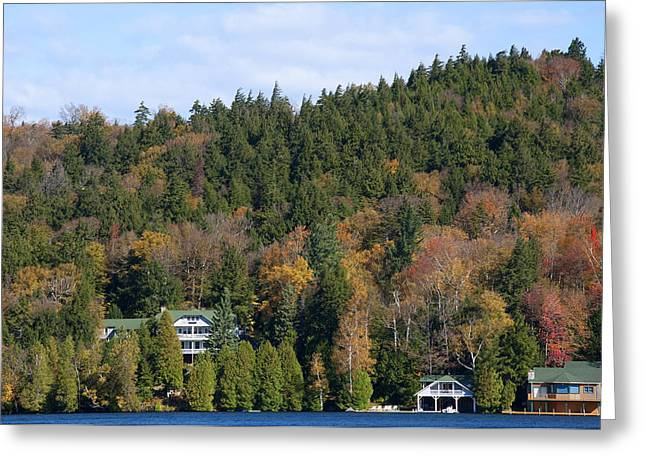 Wooden Sculpture Greeting Cards - Fall Colours on the Tranquil Lake Greeting Card by Brenda Kean