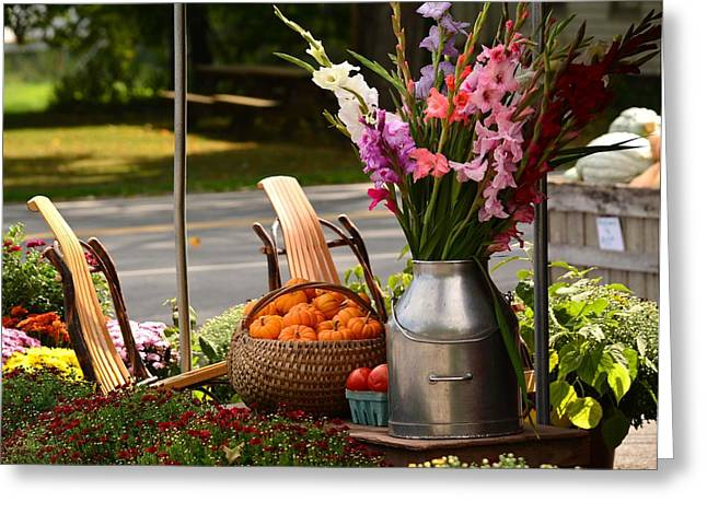 Farmstand Greeting Cards - Fall Country   Greeting Card by Judy Genovese