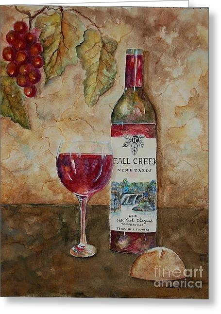 Recently Sold -  - Table Wine Greeting Cards - Fall Creek Vineyards Greeting Card by Tamyra Crossley