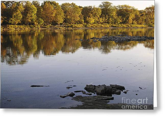 Peaceful Scene Greeting Cards - Fall day along the river Greeting Card by Lesley Jane Smithers