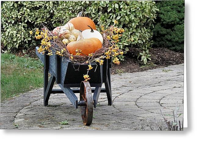Fall Decorated Wheelbarrow  Greeting Card by Janice Drew