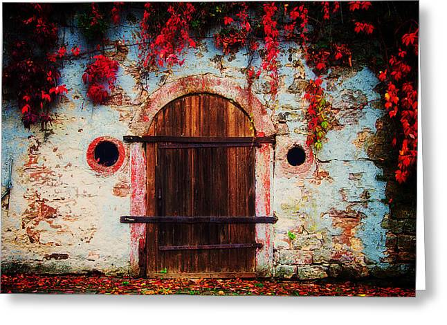 Wooden Greeting Cards - Fall Door Greeting Card by Ryan Wyckoff