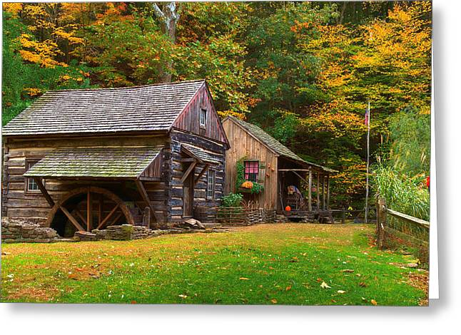 Old Mills Photographs Greeting Cards - Fall Down on the Farm Greeting Card by William Jobes