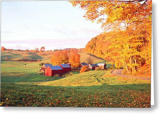 Country Lanes Greeting Cards - Fall Farm Vt Usa Greeting Card by Panoramic Images