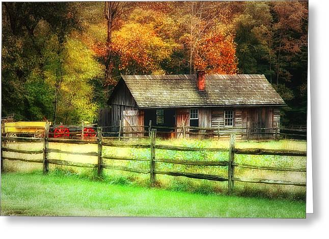 Shed Digital Art Greeting Cards - Fall Fenced In Greeting Card by Mary Timman