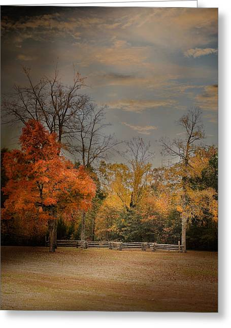 Split Rail Fence Greeting Cards - Fall Fenceline - Autumn Landscape Scene Greeting Card by Jai Johnson