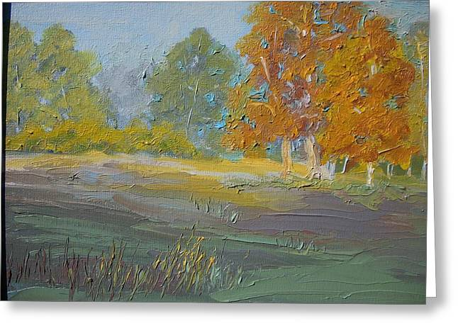 Dwayne Gresham Paintings Greeting Cards - Fall Field Greeting Card by Dwayne Gresham