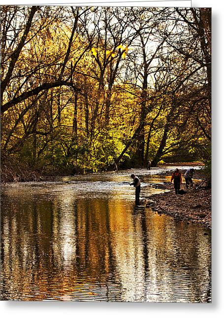 Fishing Creek Greeting Cards - Fall Fishing Greeting Card by Tom Gari Gallery-Three-Photography